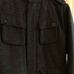 H&M military style dress coat grey charcoal 38R
